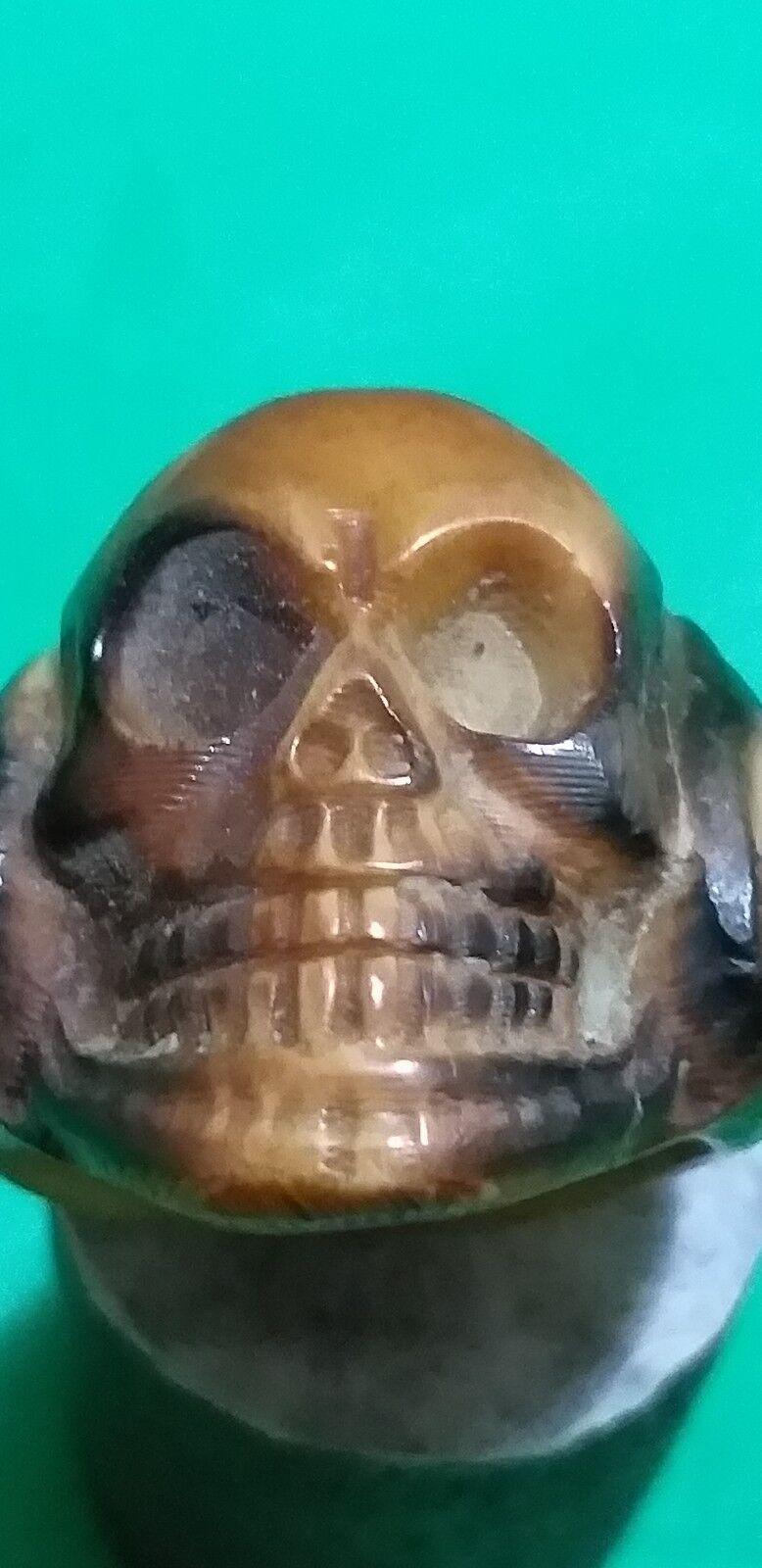 Antique vintage Hand made Memento Mori Skull  bone  ring