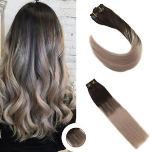Details About Ugeat Ombre Thick Hair Extensions Clip In Human Hair Dark Brown To Ash Blonde