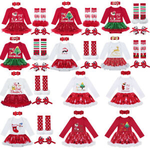Christmas Xmas Newborn Baby Boy Girl Romper Princess Dress Party Outfits Set