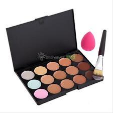 Pro Makeup 15 Colors Face Contour Concealer Palette + Powder Brush + Sponge Puff