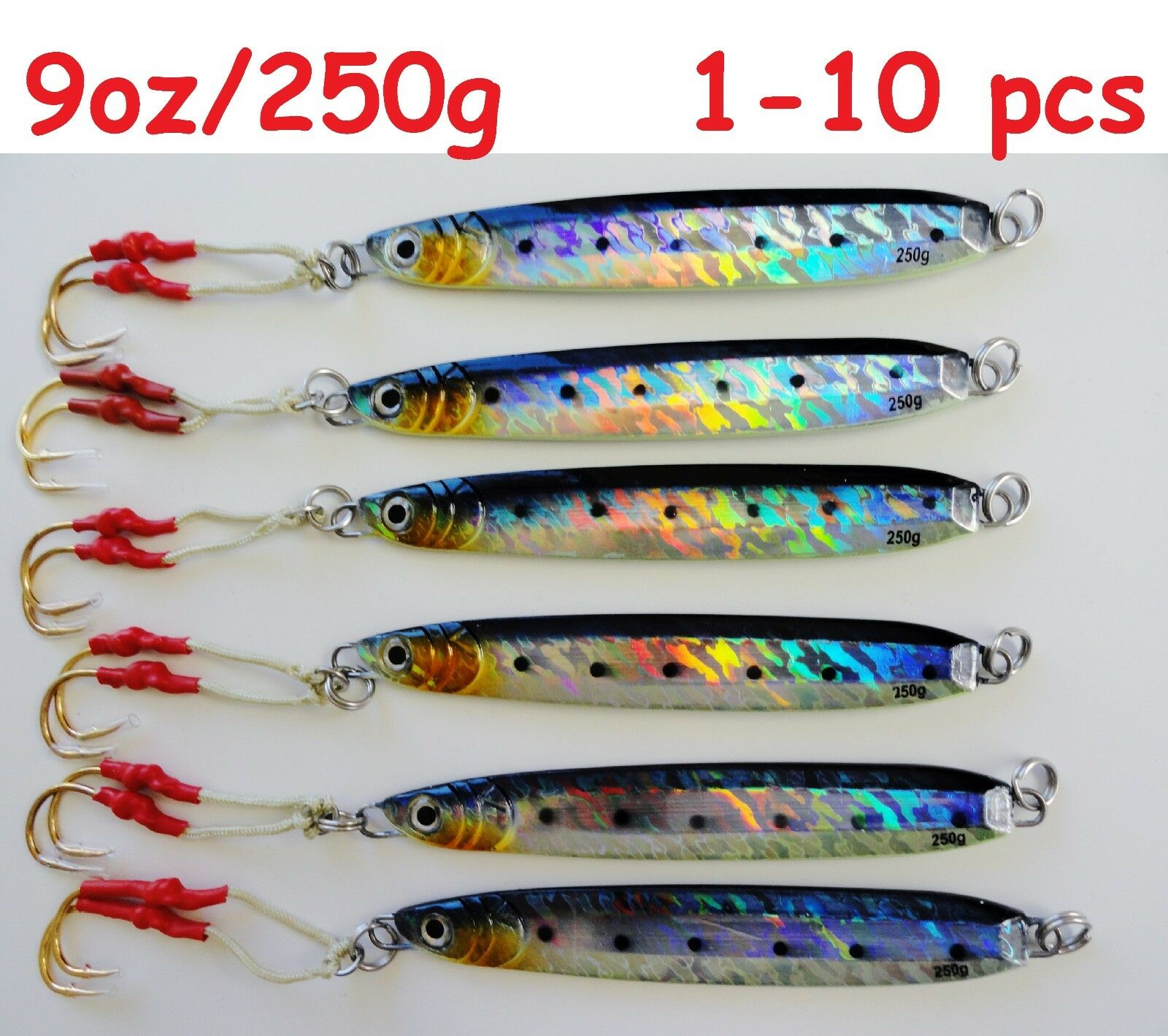 Knife Jigs 9oz  250g Sardine greenical Butterfly Saltwater Fish  Lures 1 to 10 pcs  cheap