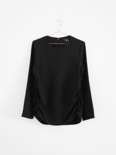 Bluse Cos Detail 12 Black 38 Drapiert Hof115 Uk Top Schwarz Textured Gathered 7ZwP5qd