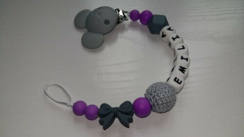 Silicone Purple Personalised Minnie Mouse Dummy Clip with bow for Girls*BPA FREE
