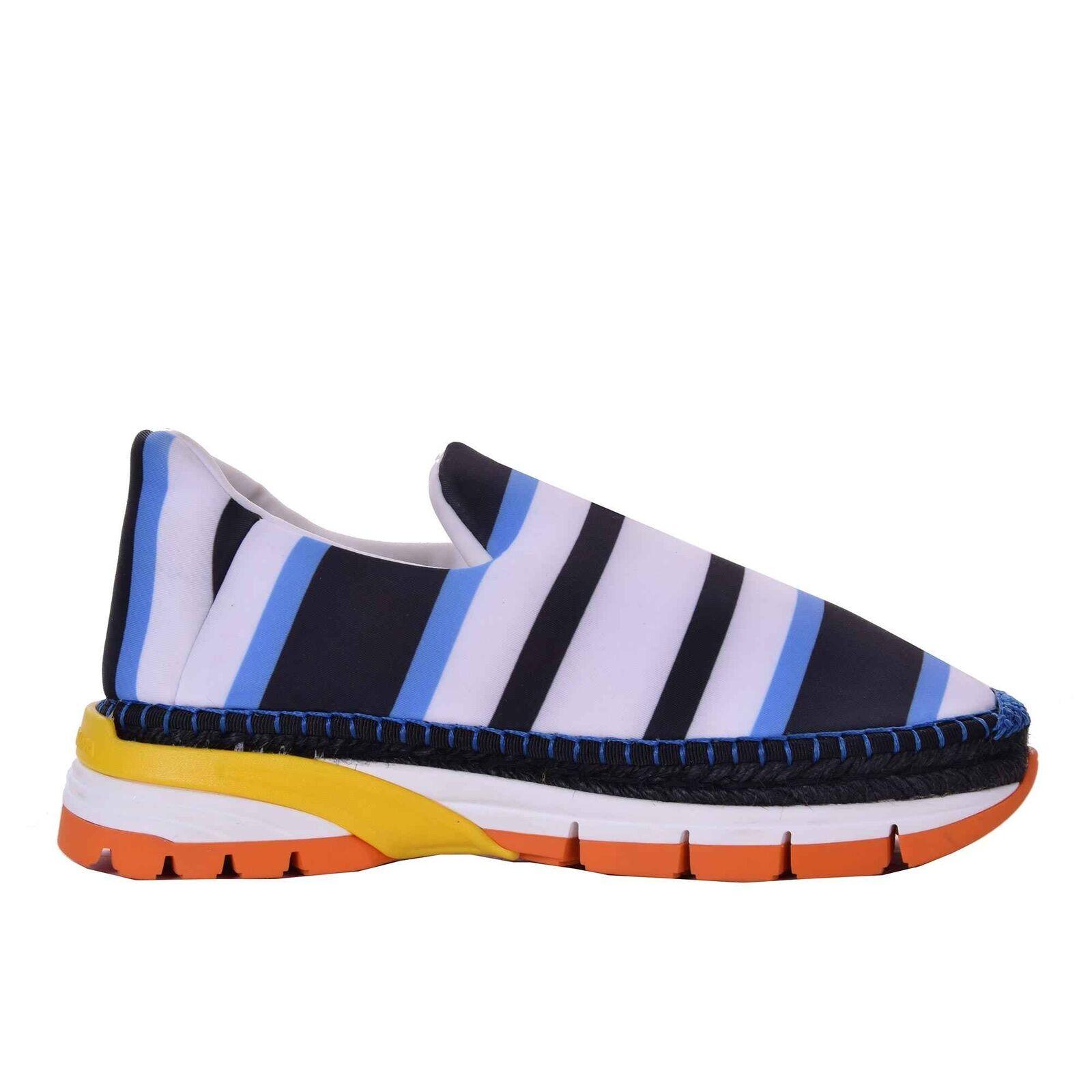 DOLCE & GABBANA Neopren Espadrilles Weiss Sneaker Schuhe Streifen Blau Weiss Espadrilles 06653 8ec53d