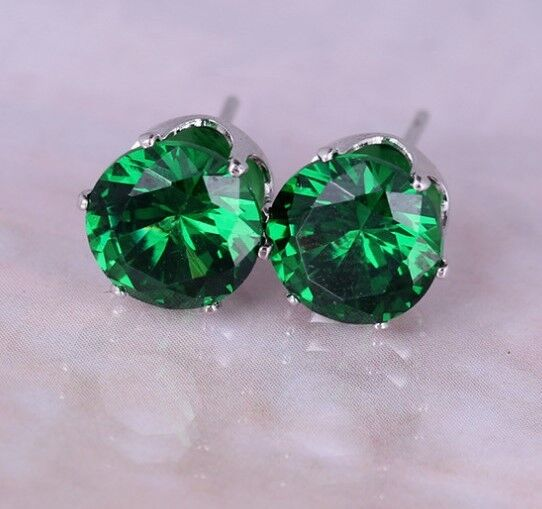Boxed Gift 8mm Emerald Green Paste Silver Crystal Stud Earrings Present Uk Ebay