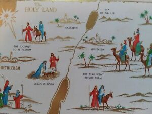 Vtg-The-Holy-Land-Map-1960s-Quality-Crest-CHRISTMAS-GREETING-CARD