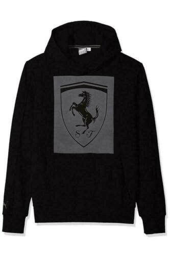 PUMA Men/'s Ferrari Big Shield Activewear Hoodie 576683-02 576683-03 Black Grey