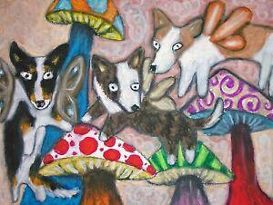 CARDIGAN-WELSH-CORGI-Faeries-Fairy-Dog-Pop-Folk-Vintage-Art-8-x-10-Signed-Print