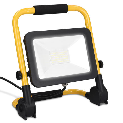 LED Baustrahler 30W 3000lm Baustellenlampe Flutlicht Strahler tragbar Baulampe