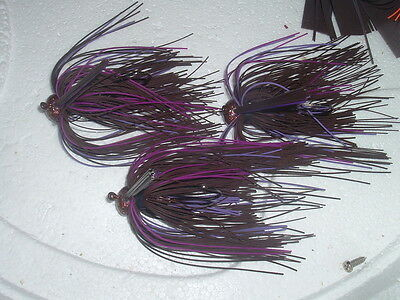 Custom Weedless Football Jig Lot Of 3 Table Rock Special 1//2 oz Living Rubber