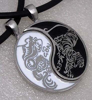 Original design Dragon Tiger Japanese Split Yin Yang Pewter Pendant Friendship