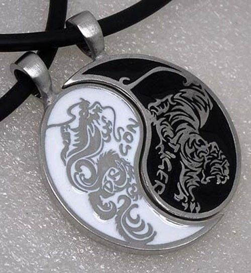 Dragon/Tiger Japanese Split Yin Yang Silver Pewter Pendant Best Friends/Lovers