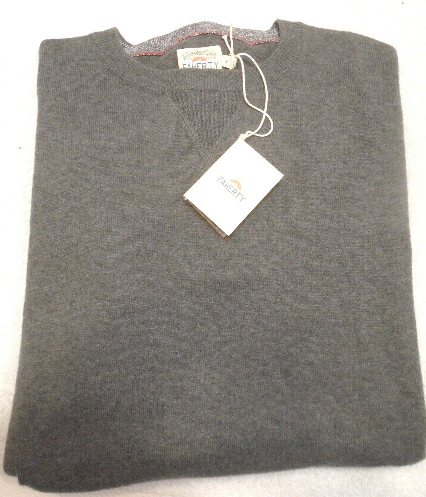 Faherty Cotton & Cashmere Blend Sconset Crewneck Sweater NWT XL $128 Gray