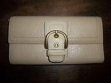 Coach Tan/Beige Retired Pebble Leather Full Size Wallet
