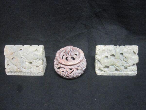 2 Teilige Marmor Sammlung - Figuren - Buchstützen - Mit Kleine Dose. Ca 1000 G