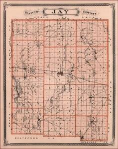Jay County Indiana Portland Redkey Pennville Antique Map