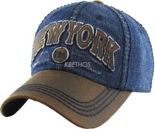 New York NY Vintage Distressed Hat Baseball Cap Washed