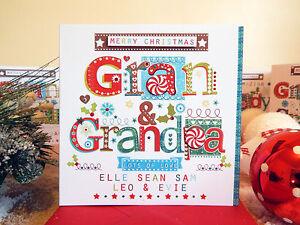 Grandma Grandad Christmas cards personalised for Grandparents special CHRISTMAS