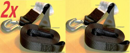 """2x DELUXE BOAT PWC Jetski TRAILER REPLACEMENT WINCH STRAP 2/"""" x20/' WITH SNAP HOOK"""