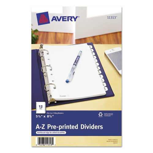 """Pre-Printed Dividers,w//7 Holes,12-Tabs,A-Z,8-1//2/""""x5-1//2/"""",WE AVE11313"""