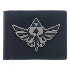 Official Zelda Black Bi-fold Wallet with Silver Metal Badge - Nintendo Hyrule