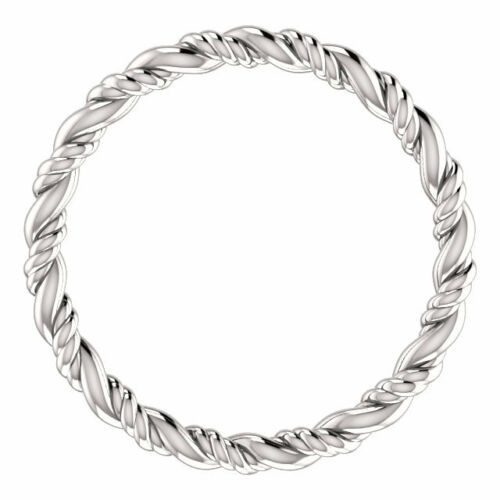 Rope Eternity Wedding Band 14K White Gold 2.2mm Wide Ring Free Shipping SIZE 4