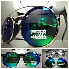 VINTAGE 60's RETRO Style Clear Lens CLIP ON SUN GLASSES Round Matte Black Frame