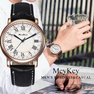 MCYKCY-Men-039-s-Watch-Roman-Numeral-Dial-Leather-Casual-Analog-Quartz-Wristwatch