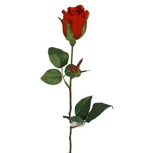 Image Is Loading A Dozen Artificial Silk Valentine Bright Red Roses