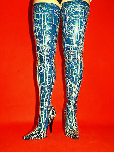 Latex Rubber High Boots Size 6 16 Heels 5 5 Producer Poland New Blue White Ebay