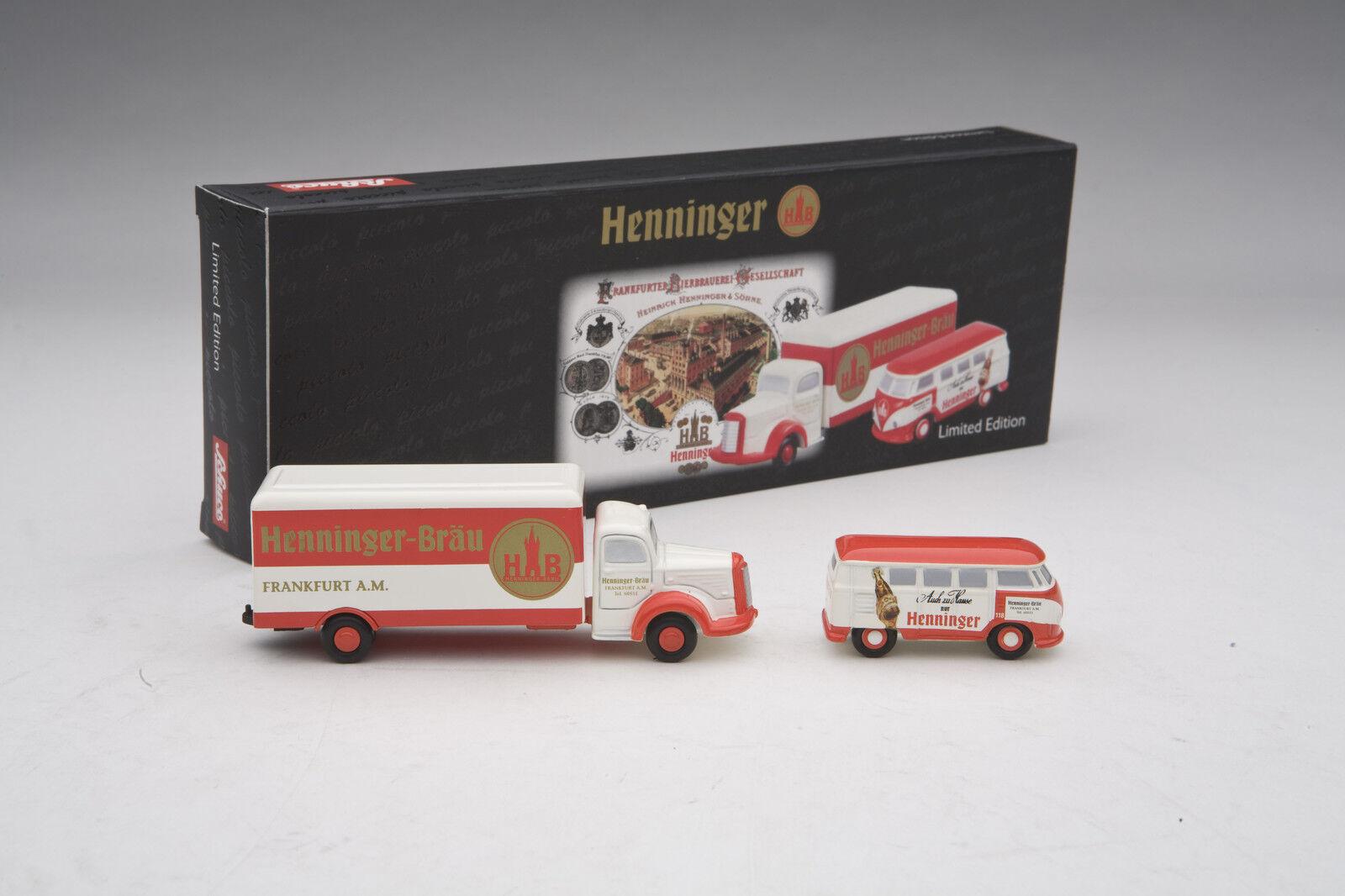 Schuco   Mercedes L6600 & VW T1 Bus    Henninger  Delivery Gift Set    SHU05811 b4a978