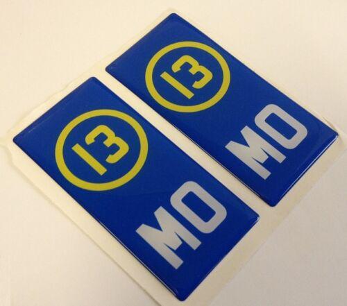 2x région italienne numéro 3D gel de Modène plaque côté badge badges pour plaques de métal