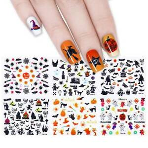24-Sheets-Halloween-Nail-Art-Transfers-Self-Adhesive-Decal-Sticker-DIY-Manicure