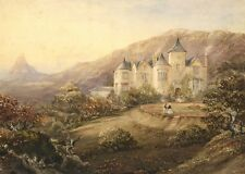 Henry Barlow CARTER, Scottish Country House-ORIGINALE 1846 dipinto ad Acquerello