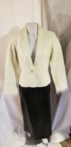 Womens White Leather Blazer Jacket Feather Fringe