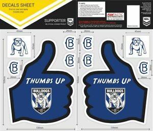 NRL Canterbury Bulldogs Thumbs Up Decal Sticker Car Tattoo iTag