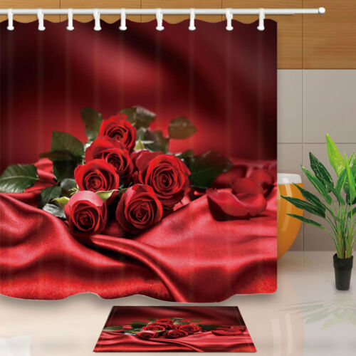 Elegant Rose Red Background Bathroom Fabric Shower Curtain With Hooks 71 Inches