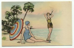 2-Women-On-Beach-Old-Bathing-Suits-Linen