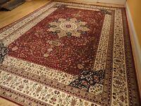 Silk Persian Rugs Tabriz 8x10 Red Iranian Design 5x8 Silk Carpet Traditional Rug
