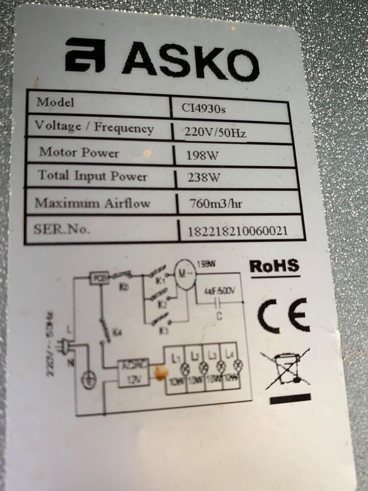 Emhætte, Asko CI4930, b: 90 d: 60 h: 80