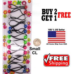 Colorful-Braid-Girls-Kids-Scrunchie-Small-Beads-Hair-Tie-Ball-Ponytail-Holder