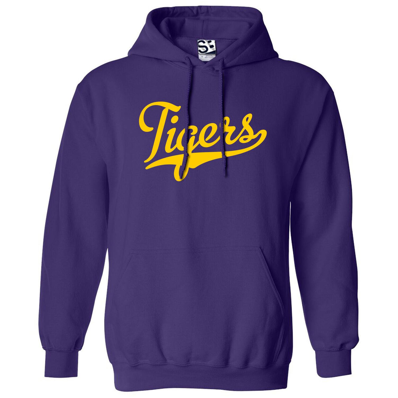 Tigers Script & Tail HOODIE - Hooded School Sports Team Sweatshirt - All Farbes