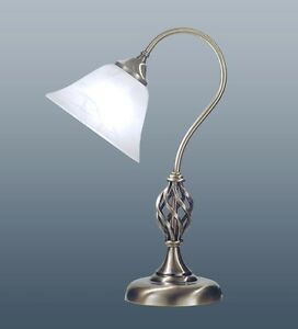 SWAN-NECK-TABLE-LAMP-BARLEY-TWIST-ANTIQUE-BRASS-MURANO-GLASS-SHADE