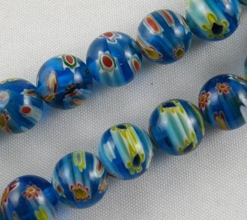 20pcs  Millefiori Glass Round Loose Beads Spacers Jewelry DIY 12colors-1 10mm