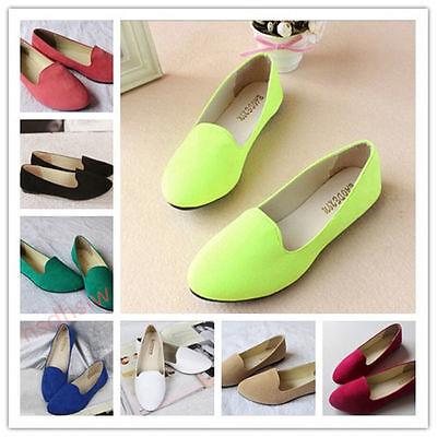 Women Lady Boat Shoe Casual Flat Ballet Slip On Flats Loafers Single Suede Shoes