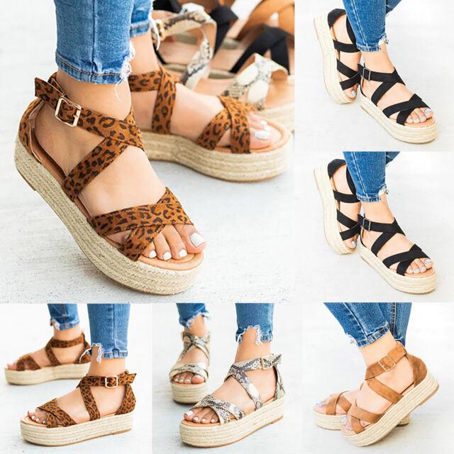 Women Espadrilles Ankle Strap Bucket Sandals Platform Open Toe Summer Beach Shoe
