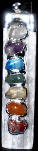 7-Chakren-Chakrafarben-Anhaenger-Selenit-mit-Edelsteinen-Chakra-45-10mm-Silber