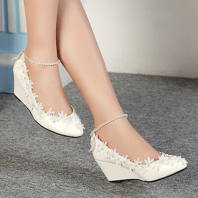 Princess Pearl Lace Floral Wedge Shoes Wedding Bridal High Heels Women New Pumps