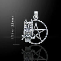 Sitting Owl With Pentagram Sterling Silver Pendant By Peter Stone Fine Jewelry
