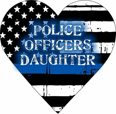 Police Officer/'s Daughter Heart Decal Thin Blue Line Various sizes Free Ship